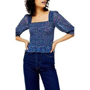 TOPSHOP Ditsy Smocked Blouse In Blue Multi US 4